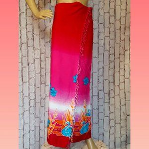 Shingaar Pink Patterned Sarong Swimsuit Cover Up